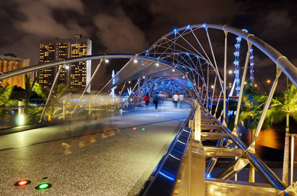 View of The Helix Bridge in Singapore. The Helix Bridge is a pedestrian bridge linking Marina Centre with Marina South in the Marina Bay area in Singapore; credit: Efired / shutterstock.com