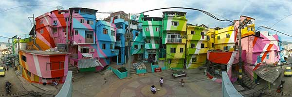 Artists Haas and Hahn created stunning artworks in the slums of Rio de Janeiro in collaboration with local people to use art as a tool to inspire, create beauty, combat prejudice, and attract attention.