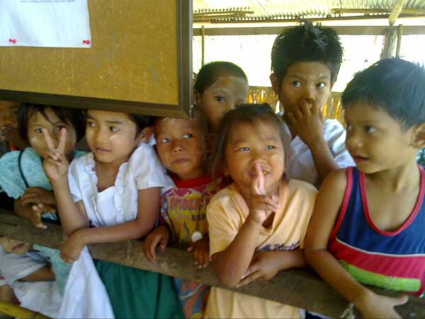 Kids effected by typhoon at Shwe Tha Zin Learning Centre from existing migrant schools on Burmese Border.