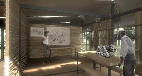Rendering showing internal classroom by Amadeo Bennetta / Daniel LaRossa
