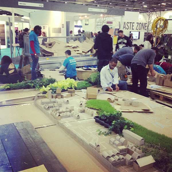 University of East London School of Architecture students building a representational model of the Canning Town Masterplan