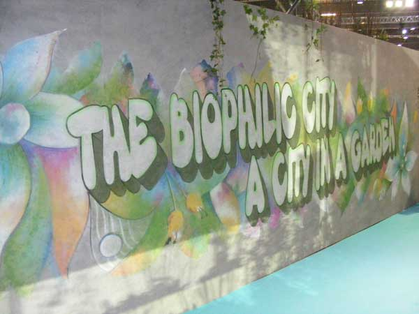 Wall murals adorned the Ecobuild Arena