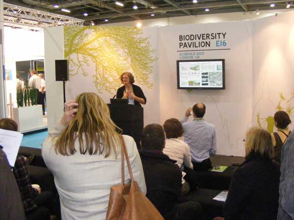Blanche Cameron of RESET speaking at the Biodiversity Pavilion