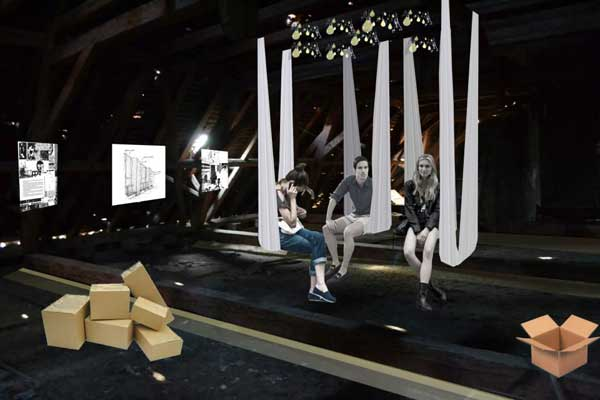 Hammocks and lighting set the stage for exhibiitions