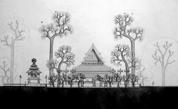 Drawing by Panitan Pramoon of Thai Lue Park