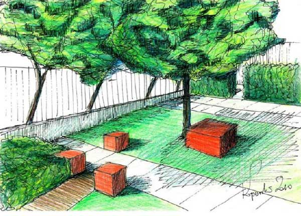 Sketch from a patio in Warsaw by Maciej Koperski