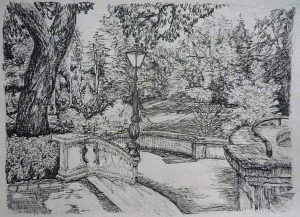 Drawing of a park in Mainz, Germany by Lydia Bradshaw from Australia.