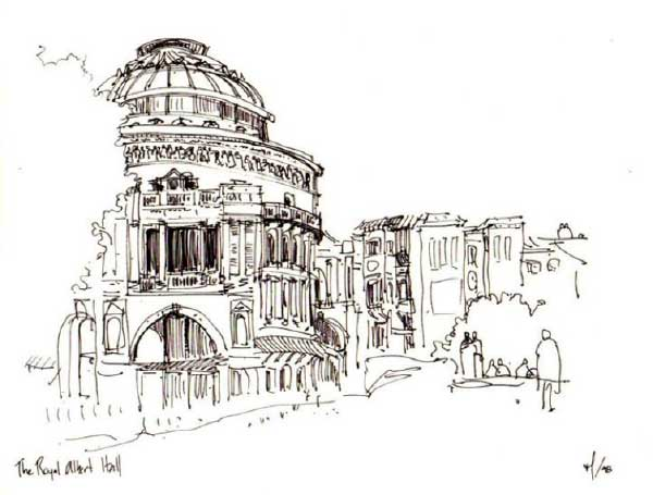 Sketch of London's Royal Albert Hall by Miguel Lievano