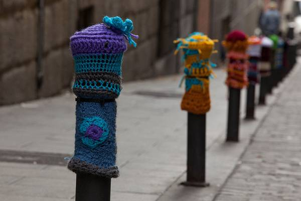 """Creative Commons  bollards in Madrid. By  Alvaro León, licensed under CC 3.0"