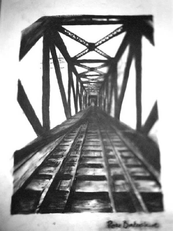 Charcoal drawing of an old train track by Rose Brokenshire