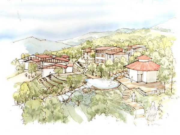 Sketch of a proposed school hostel in Bhutan by Mahafuj Ali
