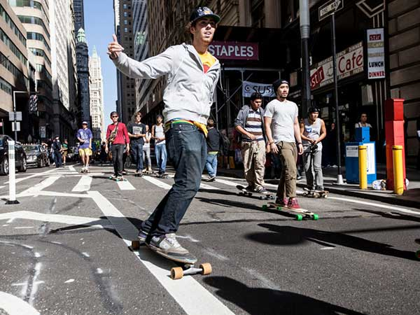Skateboarders in the city