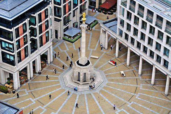 """Creative Commons   Paternoster Square in London. View from the Golden Gallery of St. Paul's Cathedral"". By Eluveitie, licensed under CC 3.0"