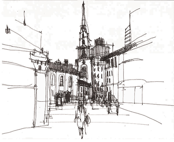 Sketchy Saturday | Park Street Church by Richard Alomar