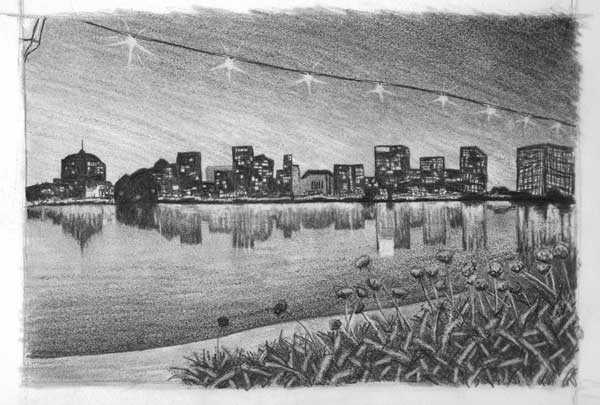 sketchy | Lake Merritt Promenade at night