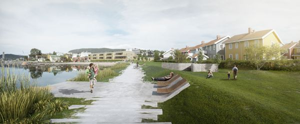 Mo I Rana Waterfront competition; image courtesy of Arkitektgruppen Cubus AS