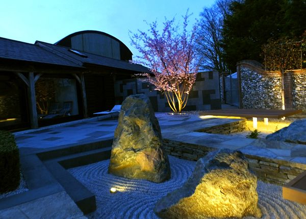 Ambient tones set the pace of this Japanese garden