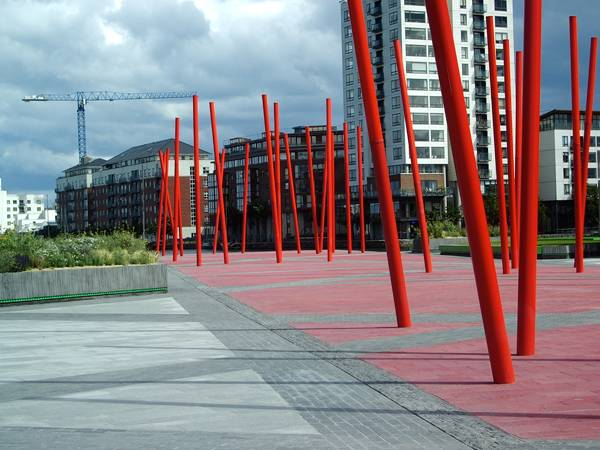 Red poles at the Grand Canal Dock; credit: Martha Schwartz Partners