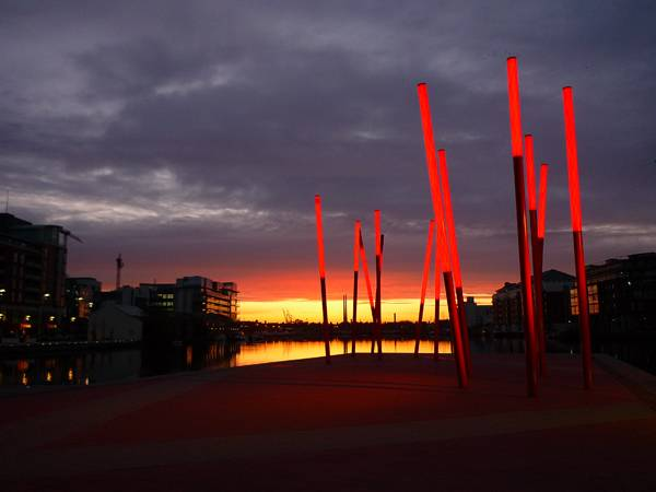 Night time at Grand Canal Dock; credit: Martha Schwartz Partners