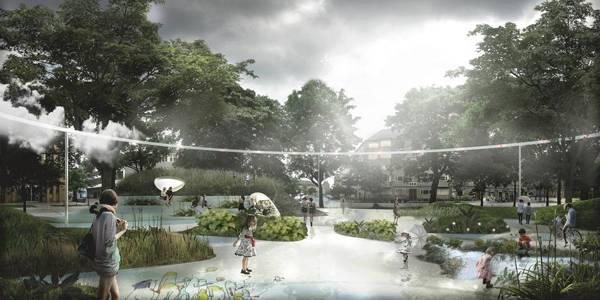 Sankt Kjelds square in Copenhagen's First Climate Resilient Neighborhood. Credit: www.tredjenatur.dk