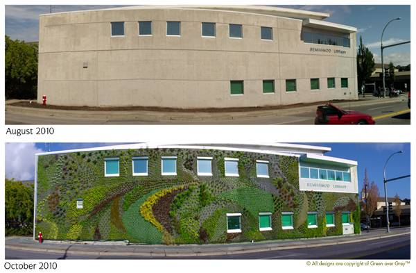 This before an after shows jus tthe kind of incredible transformation a green wall makes. Credit: www.greenovergrey.com