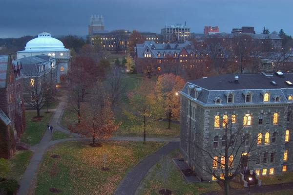 Study Landscape Architecture - View of Cornell Arts Quad from Johnson Art Museum, Arts Quad of Cornell University. Credit: CC BY-SA 3.0, by Alex Sergeev
