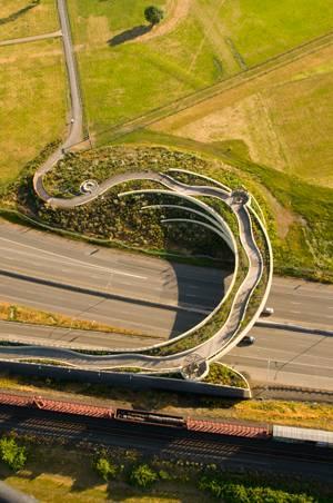 Aerial shot of Vancouver landsbridge. Photo credit: Bruce Forster