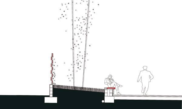 Section through seating and planting at Atalaya Park. Credit: G&C Arquitectos