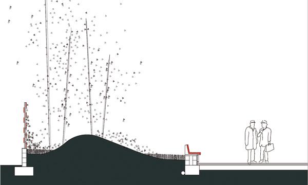 Park design - Section through seating and planting at Atalaya Park. Credit: G&C Arquitectos
