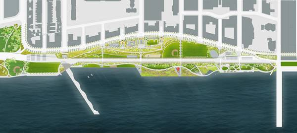 South Riverside Park, open space masterplan. Credit: Thomas Balsley Associates