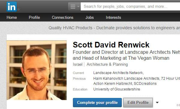 A LinkedIN profile page, looks, sharp professional and makes you easy to find.