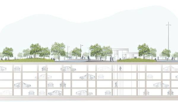 Landscape-Architecture - Section through car park. Credit: Copyright Karres en Brands