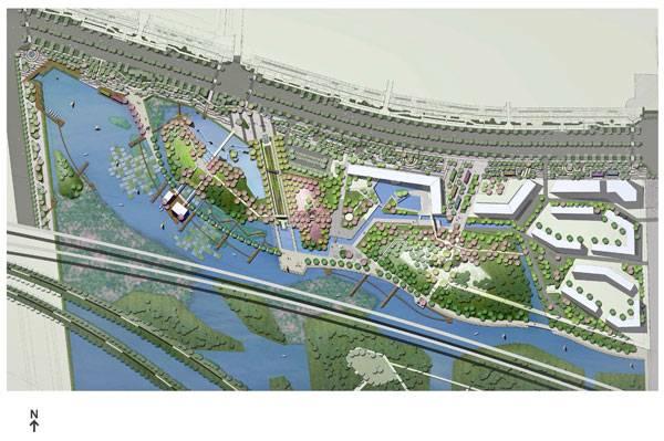 sustainable urban design - Masterplan of Lotus Lake Park. Credit:  Integrated Planning and Design Inc.