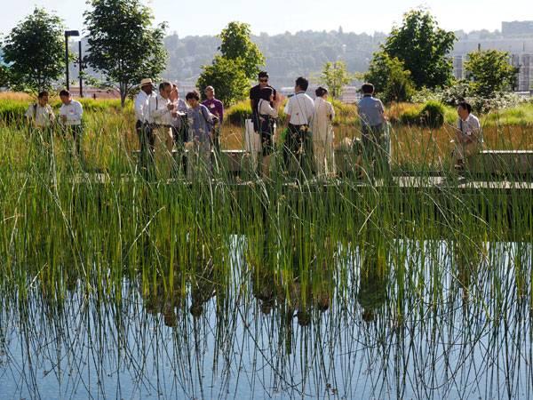 Landscape-Architecture - Water garden + Iron footpath. Credit: Atelier de Paysages Bruel-Delmar