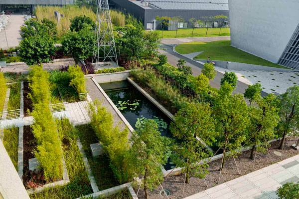 Landscape-Architecture - Water garden in the summer. Credit: Atelier de Paysages Bruel-Delmar
