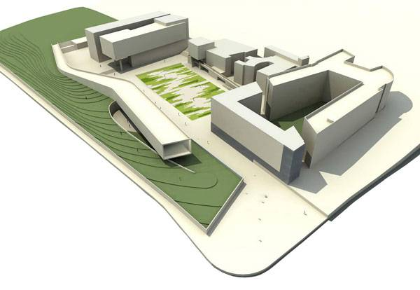 Landscape-Architecture - Digital 3D model of BGU University Entrance Square & Art Gallery. Image credit:  Chyutin Architects Ltd.