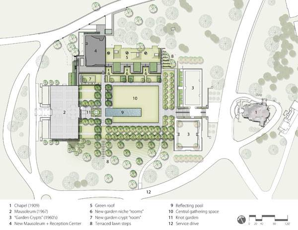 Landscape-Architecture - Plan of the Lakewood Garden Mausoleum Landscape. Credit: Halvorson Design Partnership, Inc.
