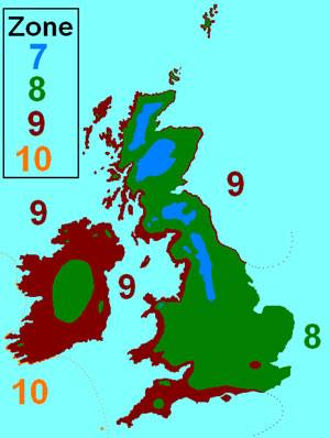 Britain and Ireland's hardiness zones. Credit: MPF, CC 3.0