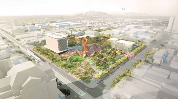 Mesa city - Aerial context future growth. Image courtesy of Colwell Shelor + West 8 + Weddle Gilmore