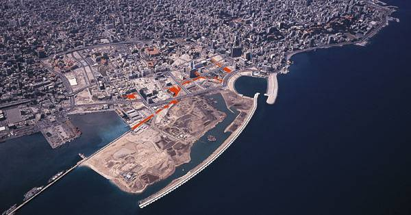 Beirut's evolving shoreline from Phoenician times until Solidere's redevelopment . Image credit: Gustafson Porter