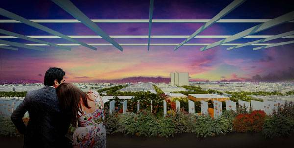Mesa city - Sky terrace. Image courtesy of Colwell Shelor + West 8 + Weddle Gilmore
