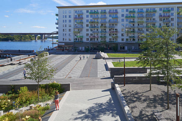 Sjövikstorget Square, by Andersson Thorbjörn with Sweco architects, Stockholm, Sweden