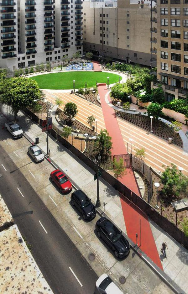 Spring Street Park, by Lehrer Architects, Los Angeles, California, U.S.A