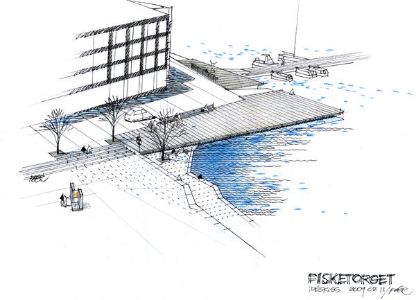 Sketch of the Fish Market Plaza. Image courtesy of Thorbjörn Andersson & Sweco Architects