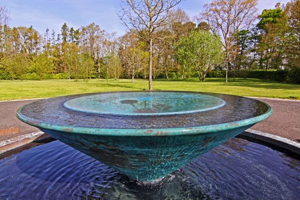 Charybdis water sculpture large whirlpool vortex. Photo credit: Giles Rayner