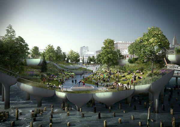 Pier 55 Floating Park. Image courtesy of Heatherwick Studios.