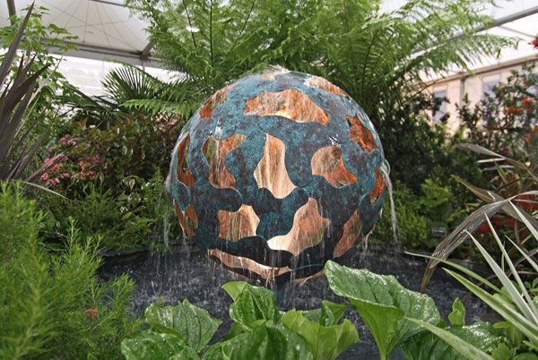 Globe water sculpture tectonic Chelsea Flower show. Photo credit: Giles Rayner