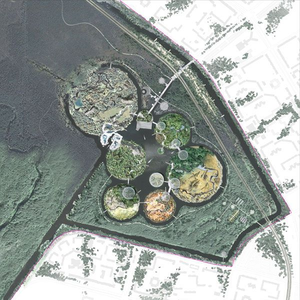 St Petersburg zoo competition phase general masterplan. Image credit: TNplus