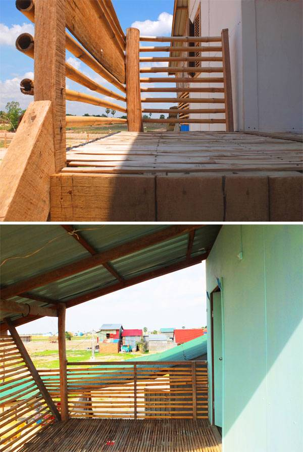 Top: Framework House adapted by home family with walls filled in on ground floor Bamboo and wood are used to create the balcony. Below: Split bamboo is used to create floor and balcony Children enjoy their new home. Photos courtesy of Building Trust International