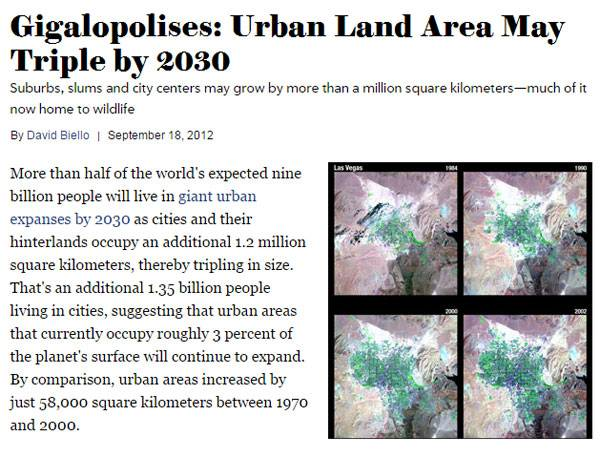 Urban areas predicted to triple in size by 2030. Image: Printscreen source